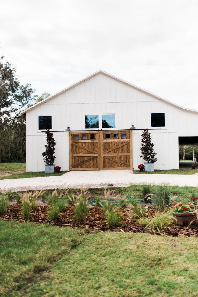 barn with landscaping