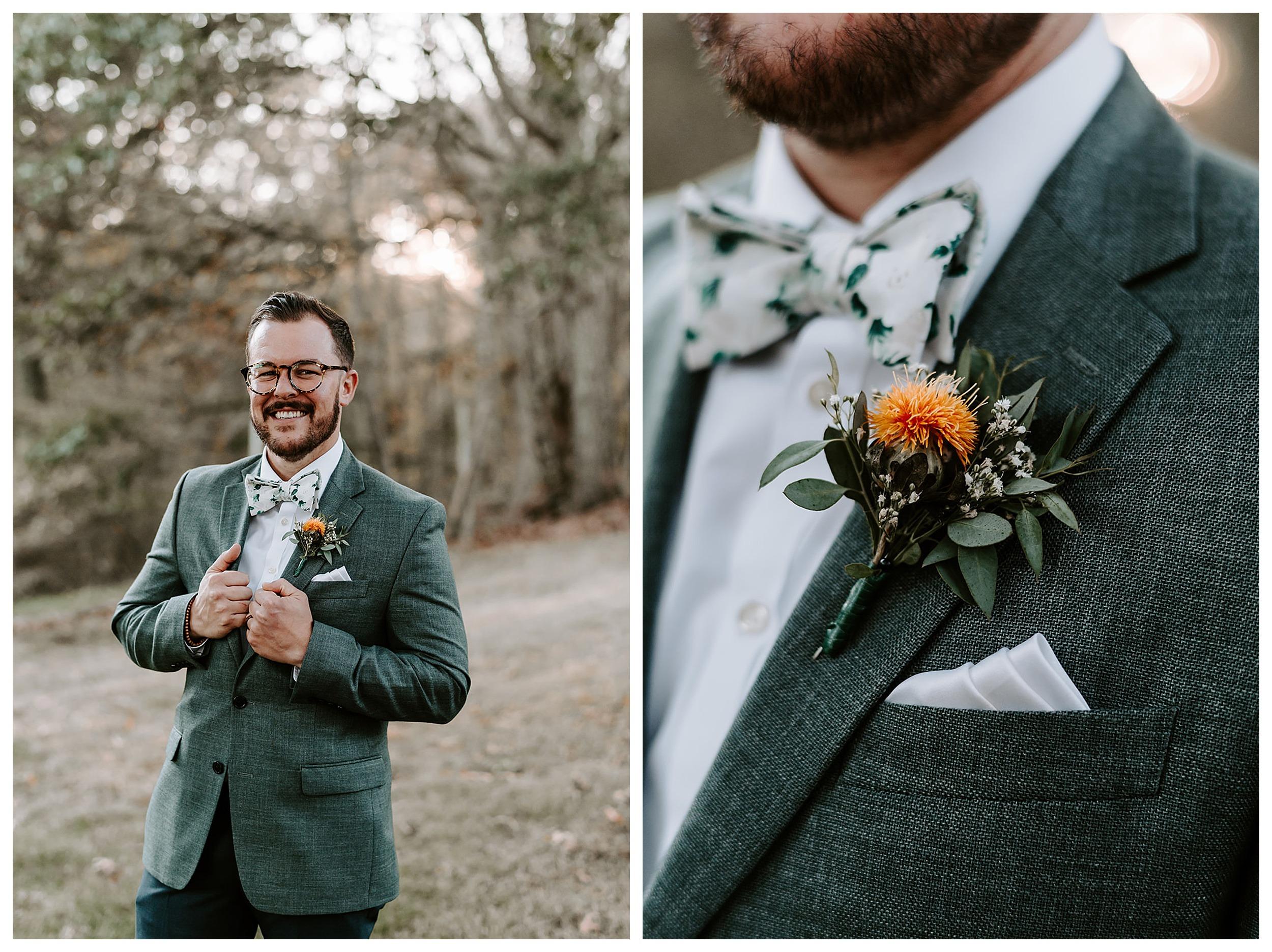 groom wearing green suit