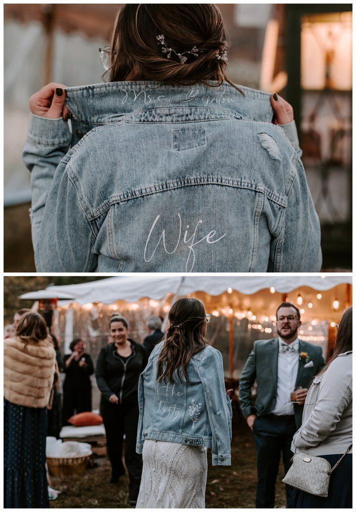 bride wearing denim jacket