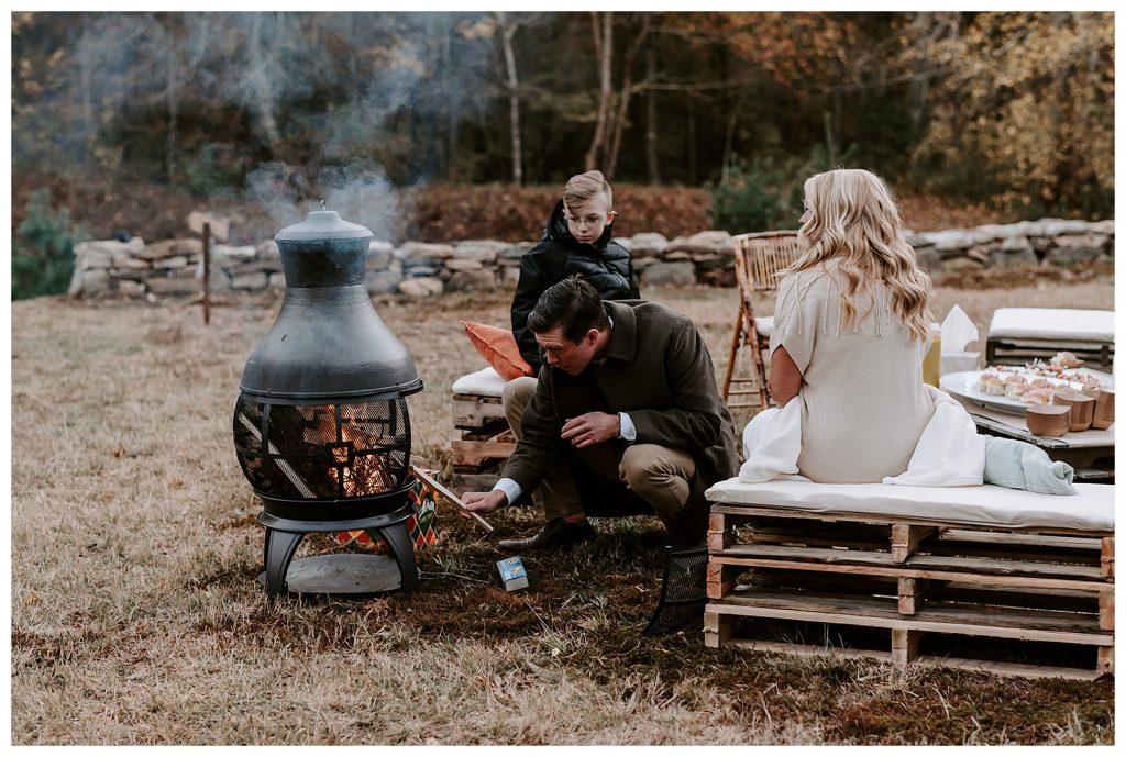 bonfire at wedding reception
