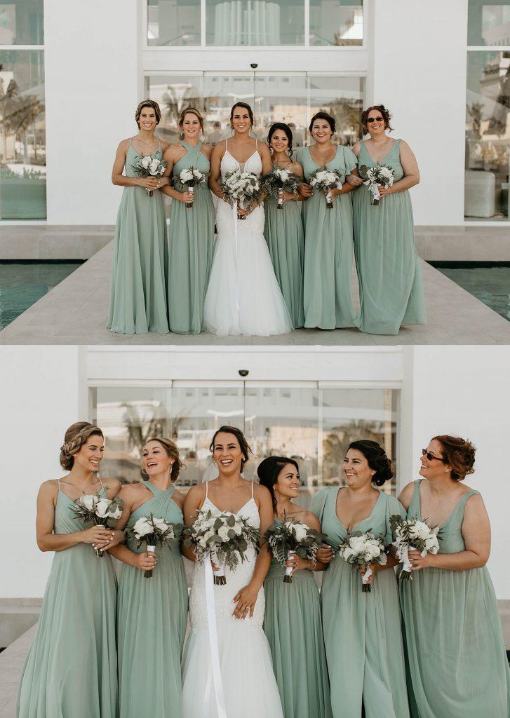 bridesmaids wearing green