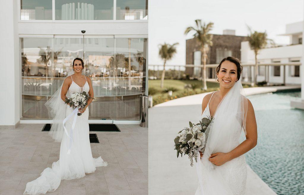 bride wearing flowy dress