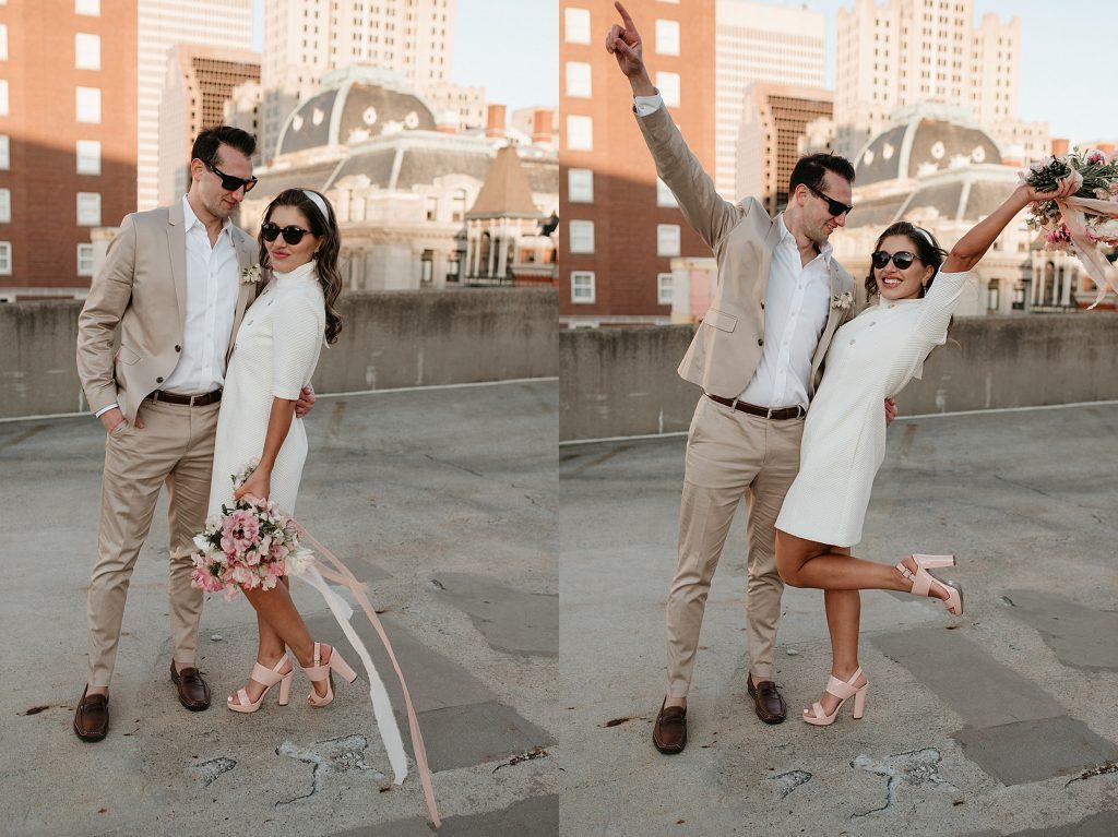 bride and groom wearing sunglasses