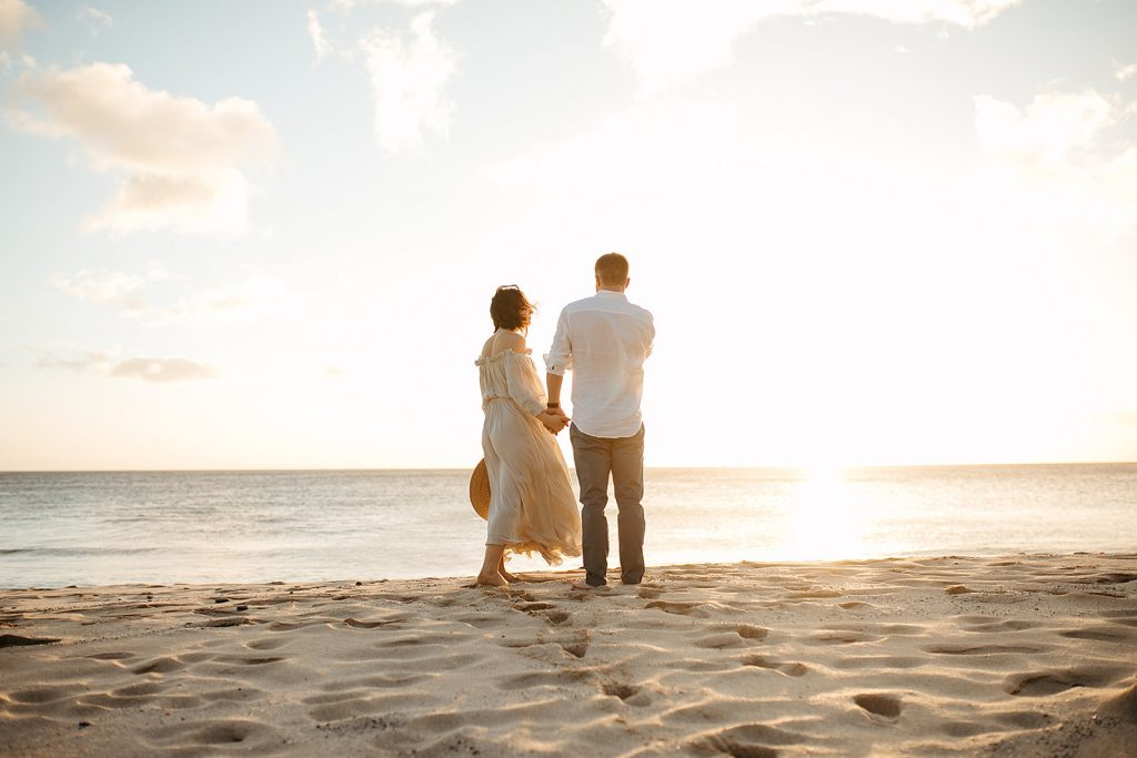 couple standing on beach together