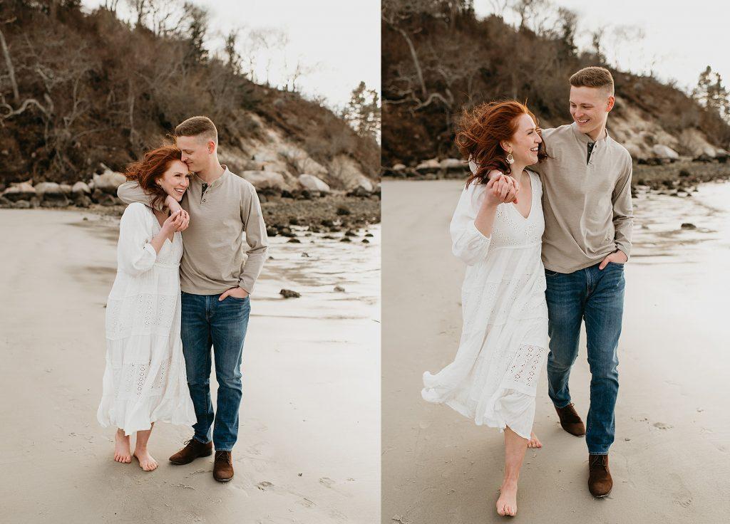 couple walking down beach